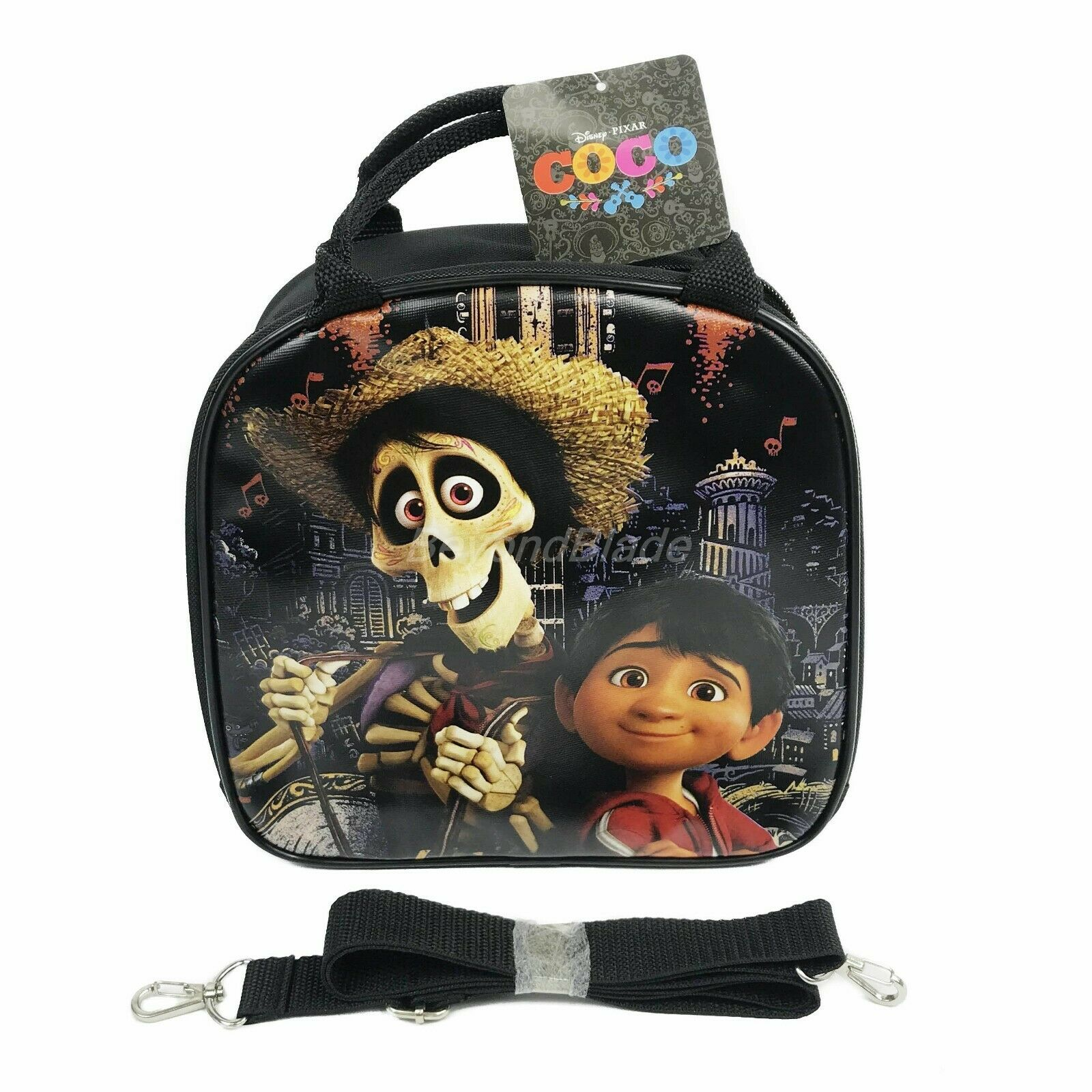 Disney Coco Black Lunch Box Lunch Bag and Adjustable Strap I
