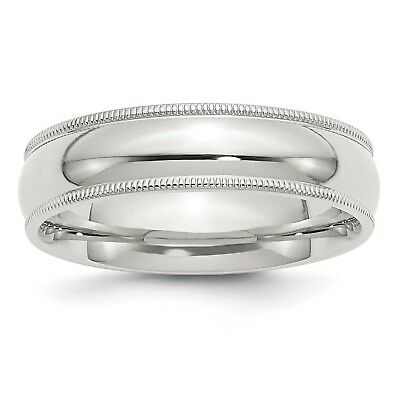 925 Sterling Silver Comfort Fit 6mm Milgrain Wedding Ring Band Size 4 - 13