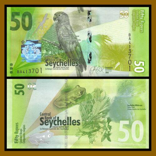 Seychelles 50 Rupees, 2016 P-49 Parrot Lizard Frog Unc