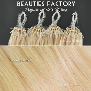 Straight Micro Bead Loop Ring Remy Human Hair Extensions 20