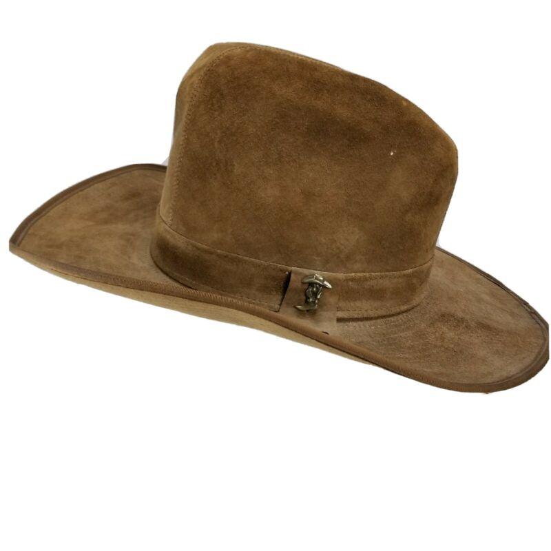 Vintage 70s Hat Suede Hush Puppies Wide Brim Cowboy Hippie Boho