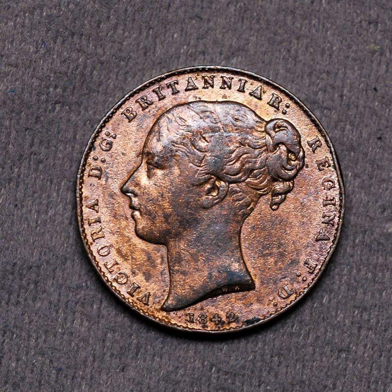 1842/0 Gibraltar 1 Quart RD London Estate World Coin Copper Victoria Mint Error