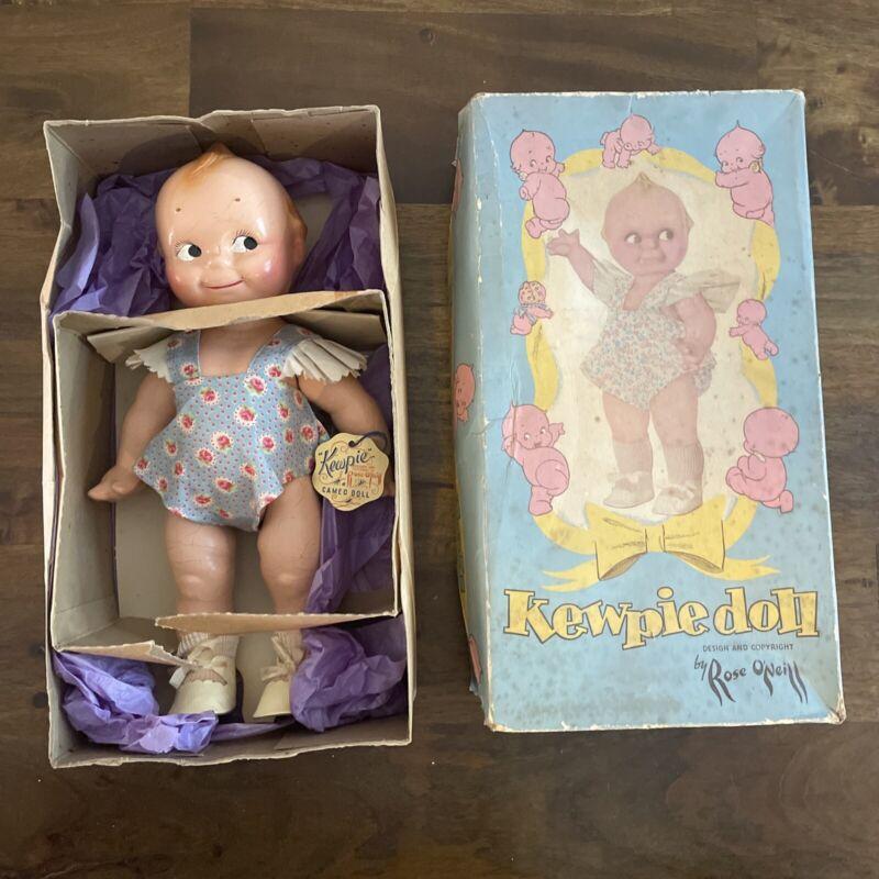 Vintage Compo Rose O'Neill Kewpie Cameo Doll Hang Tag And Original Box