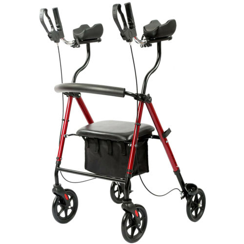 Upright Walker Rollator Walker Stand Up Rolling Walker with Padded Seat 300lbs