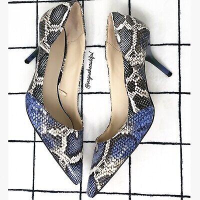 Zara Snake Print Heels Color Block EUC Size 37, US 6.5