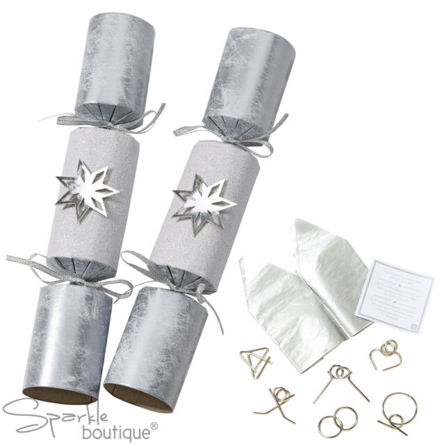 LUXURY SILVER STAR CHRISTMAS CRACKERS x 6 - With Metal Puzzles Inside -Xmas Game