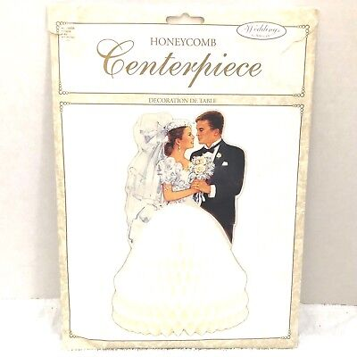 HoneyComb Bride and Groom Stand Up Wedding Centerpiece Table Top New In Package - Bride And Groom Table