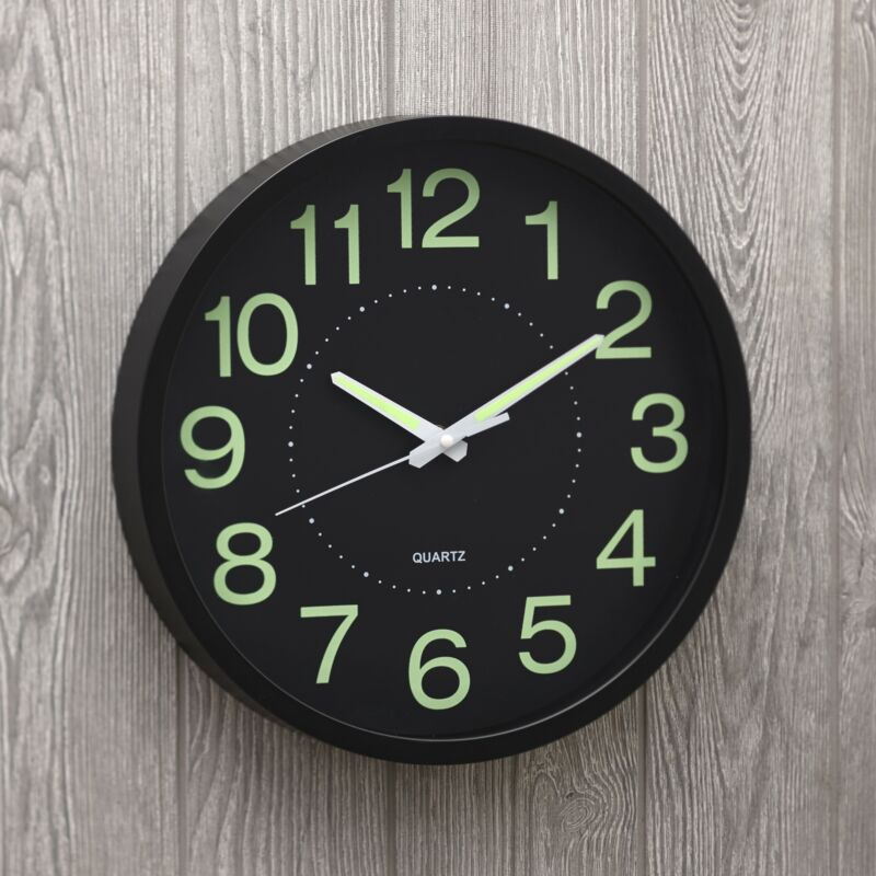 Trenton Gifts Glow in The Dark Wall Clock   Hands & Numbers Can Be Seen at