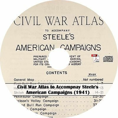 1941 American Campaigns Civil War Atlas - Maps History Book on CD