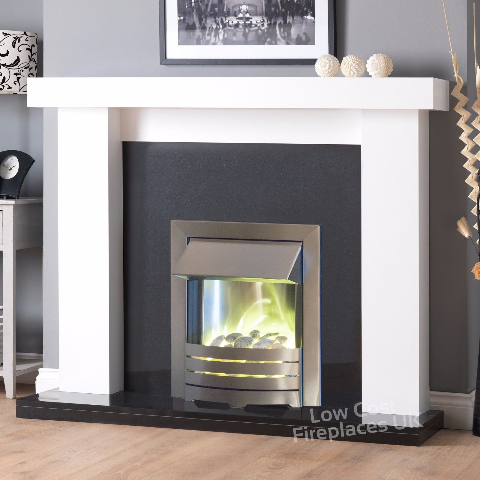 Electric White Surround Black Marble Wall Silver Fire Large Fireplace Suite 54 Ebay