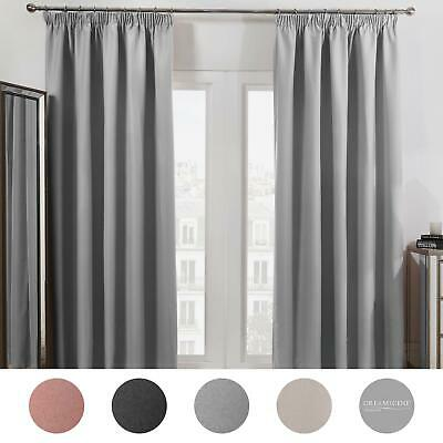 curtains - Dreamscene Pencil Pleat Blackout Curtains PAIR of Ready Made Thermal Tape Top