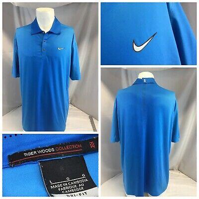Nike Tiger Woods Dri-Fit Golf Polo Shirt L Men Blue Poly Lycra LNWOT YGI L9-65
