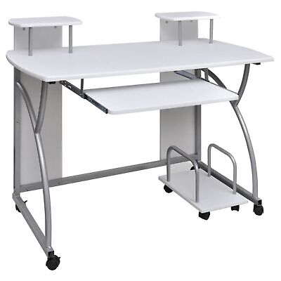 Vidaxl Computer Desk With Pull-out Keyboard Tray White Cart Game Laptop Table