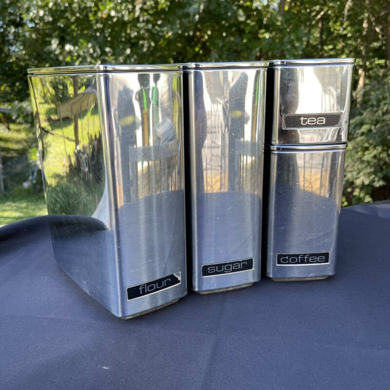 Vintage Lincoln BeautyWare Chrome Steel Kitchen Wedge Canister Set Mid-Century