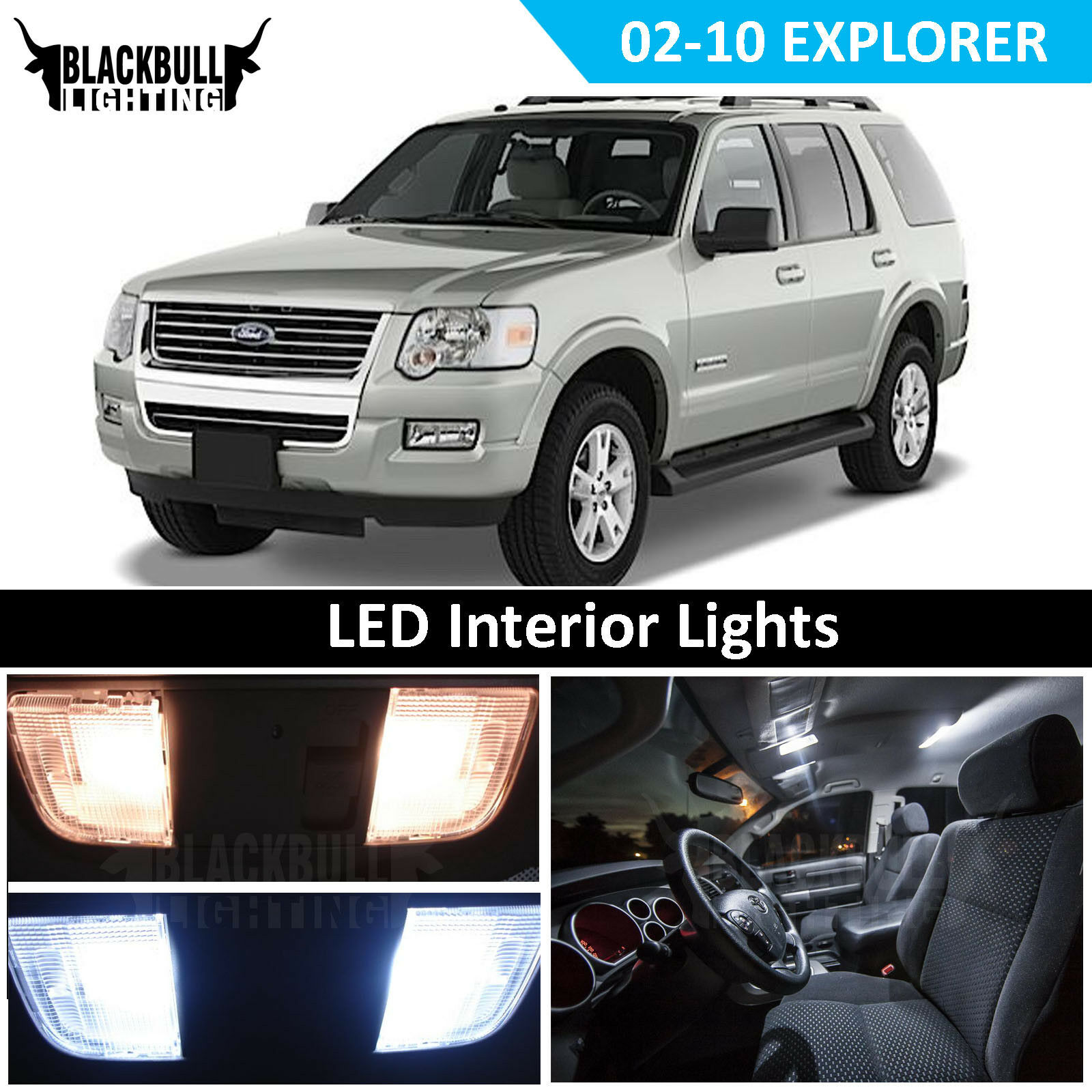 Details about White LED Interior Light Accessories Kit for 8-8 Ford  Explorer 8 bulbs
