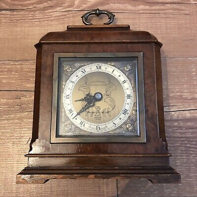 Henry Pidduck & Sons Vintage Elliott London Mantel Clock Brass Dial Walnut