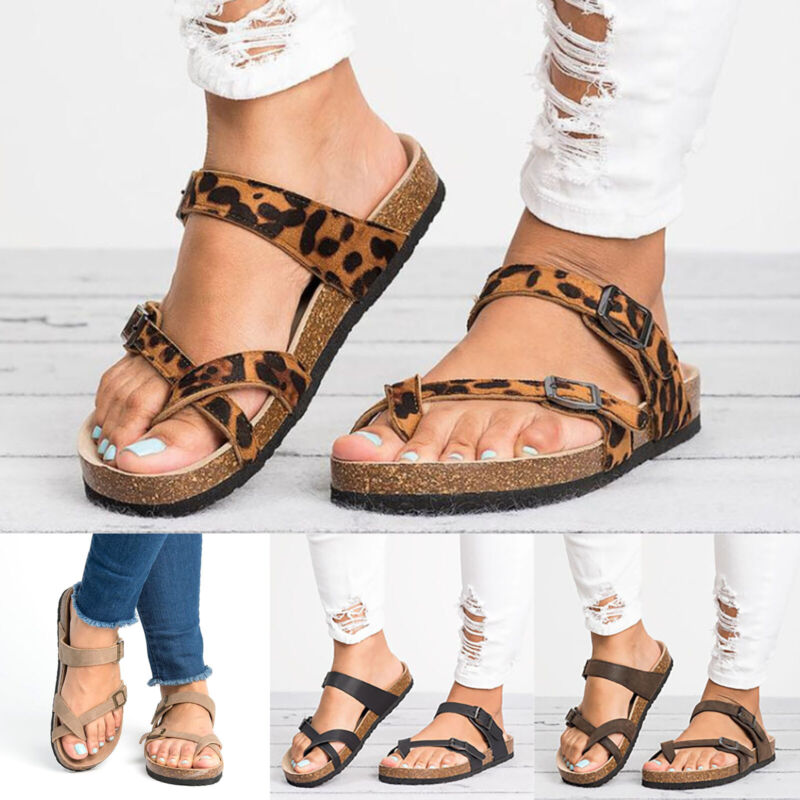 Womens Platform Flip Flops Cork Footbed Sandals Summer Beach