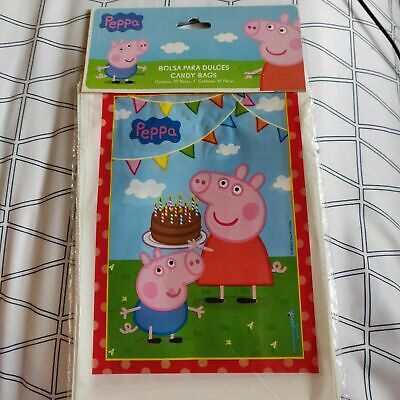 25/50 pcs Peppa Pig Birthday Party Favors Treat Loot Candy Bags Tablecloth - Pig Birthday