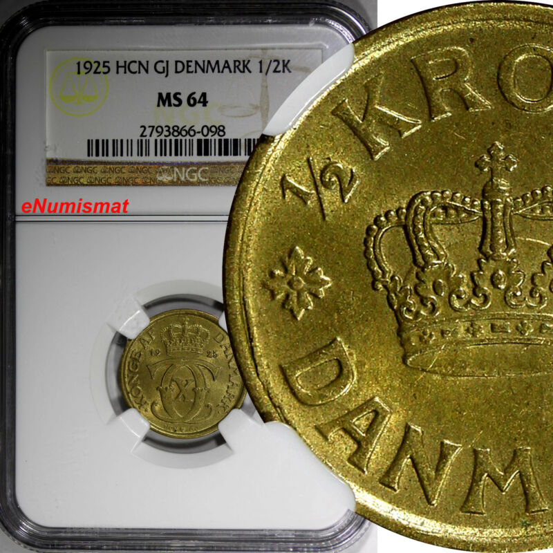 Denmark Christian X 1925 HCN; GJ  1/2 Krone NGC MS64 KM# 831.1