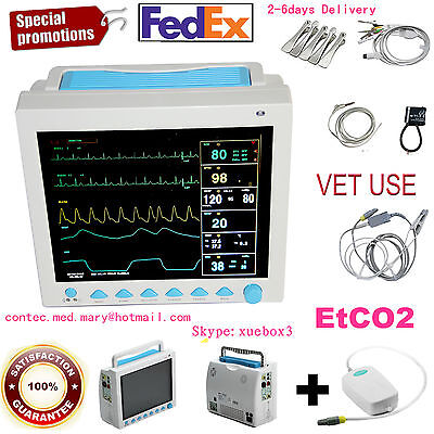 Veterinary Vet Patient Monitor 6 Parameters Icu Vital Signs Monitor With Etco2