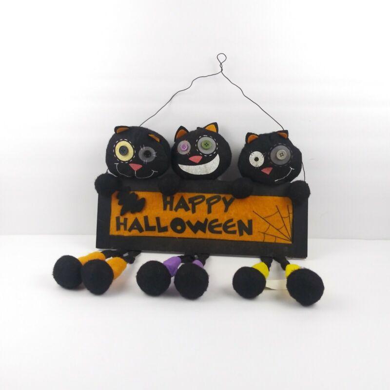 Homerbest Happy Halloween Crazy 3 Black Cat Felt Wood Sign Dangle Legs Hanging