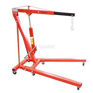 New Red 2 Ton Tonne Hydraulic Folding Engine Crane Stand Hoist lift Jack Wheel