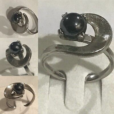 1940s Jewelry Styles and History Retro 1940s Size 7.5 Signed U Arrow for Uncas Mfg. Co Sterling Silver Onyx Ring  $55.00 AT vintagedancer.com