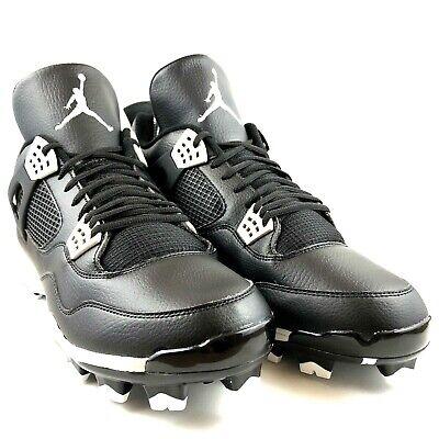 8a22fa4c8e8 Nike Air Jordan IV 4 Retro Oreo MCS 807709-010 Men's Baseball Cleats Size 16