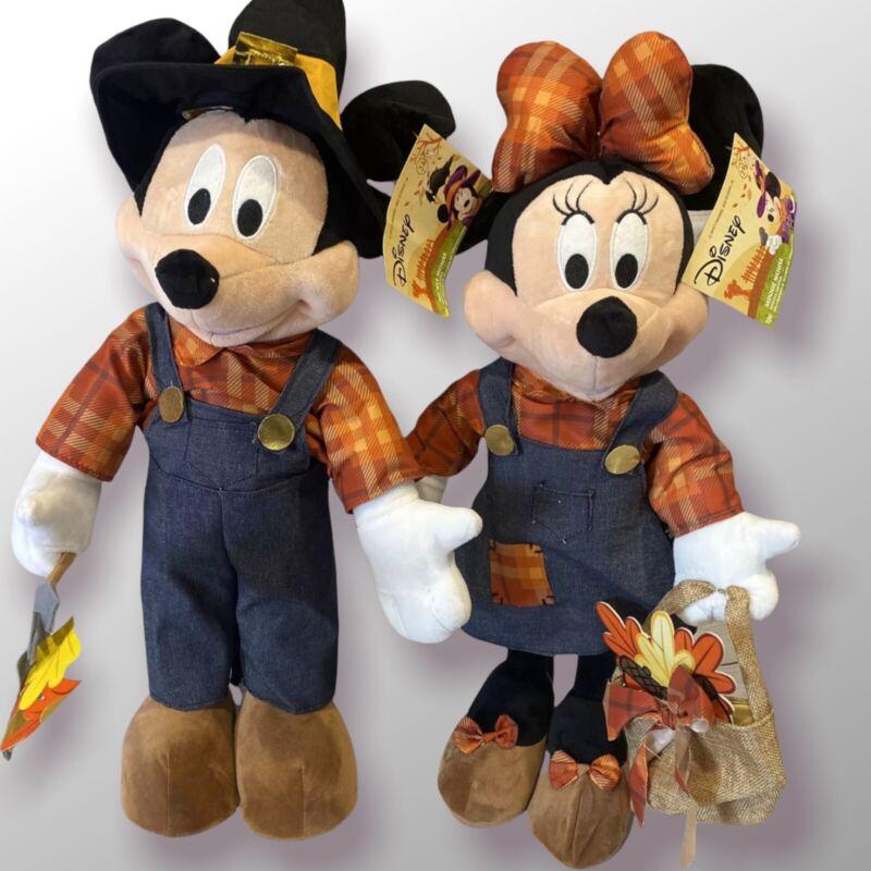 "Disney Mickey & Minnie Mouse Harvest Door Greeters 24"" Plush Fall Autumn Decor"