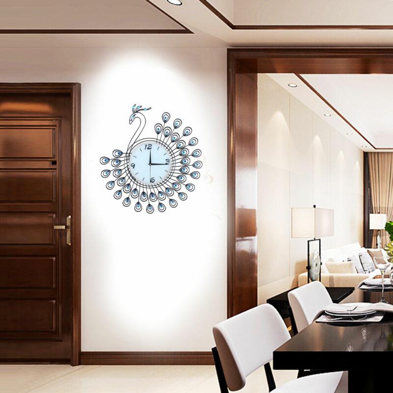Peacock Wall Clocks Digital Luxury 3D Stereo Luxury Crystal 530*530mm Iron Metal