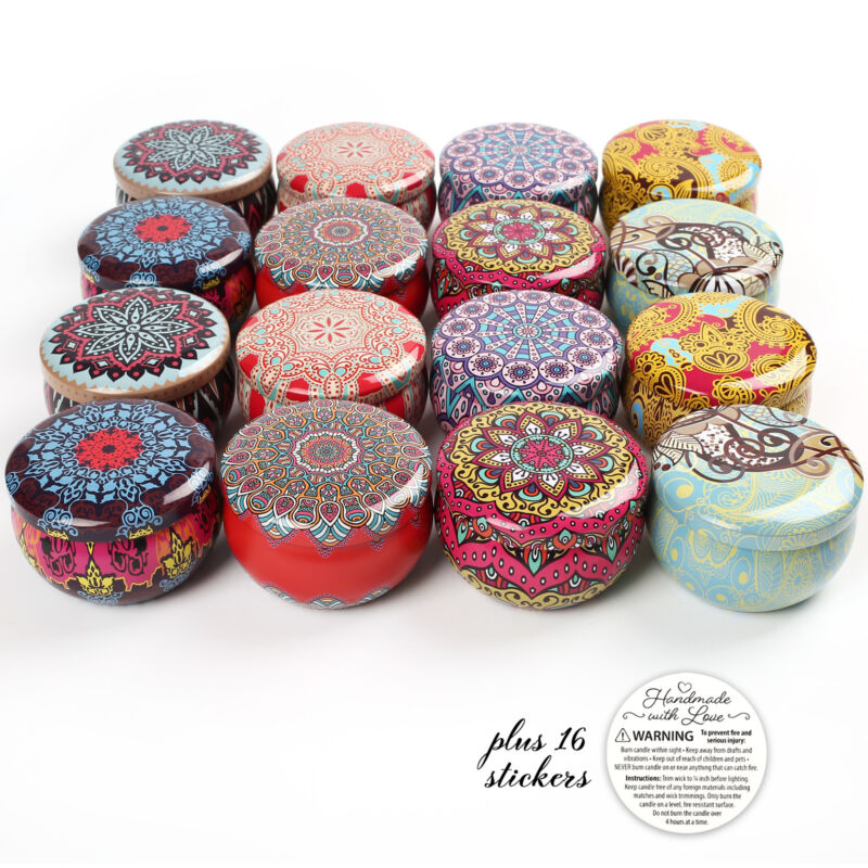 16 PCS DIY Candle Making Tin Jars Kit Wax Holder Jewelry Storage Case Containers