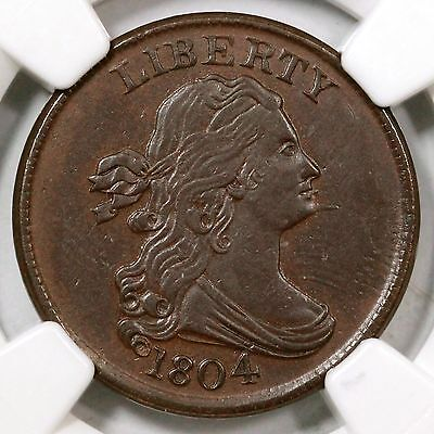 Click now to see the BUY IT NOW Price! 1804 C 7 NGC UNC DETAILS SPIKED CHIN DRAPED BUST HALF CENT COIN 1/2C