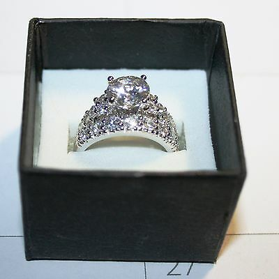 - Diamond Alternatives Wedding Promise Engagement Ring 14k White Gold over 925 SS