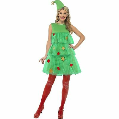 Womens Christmas Tree Costume (Festive Xmas Bauble Christmas Tree Womens Ladies Fancy Dress)