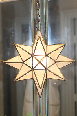 """Moravian star 13.5"""" frosted glass star (one pane is cracked) withceiling canopy"""