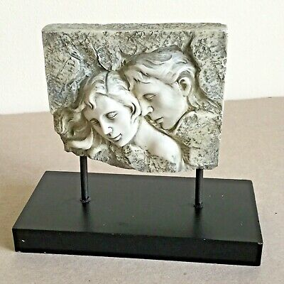 Moulded in artificial Stone Sculpture Lovers on wooden plinth Desk Art