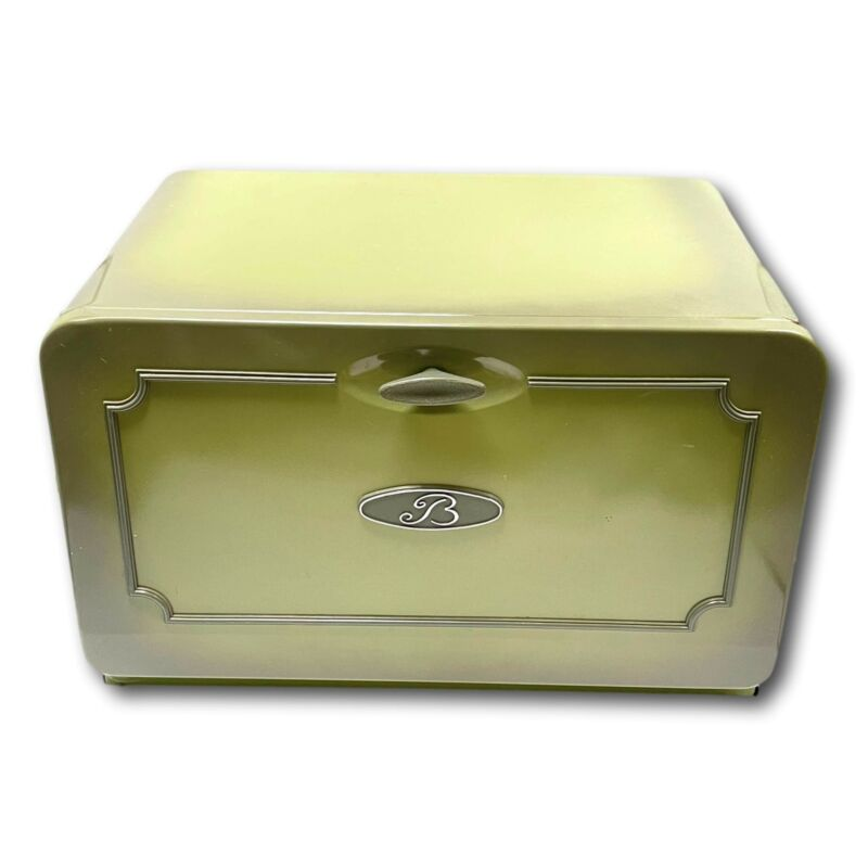 Vintage Avocado Bread Box Bin Tin Metal  w Bread Board MCM 60s Made in Canada