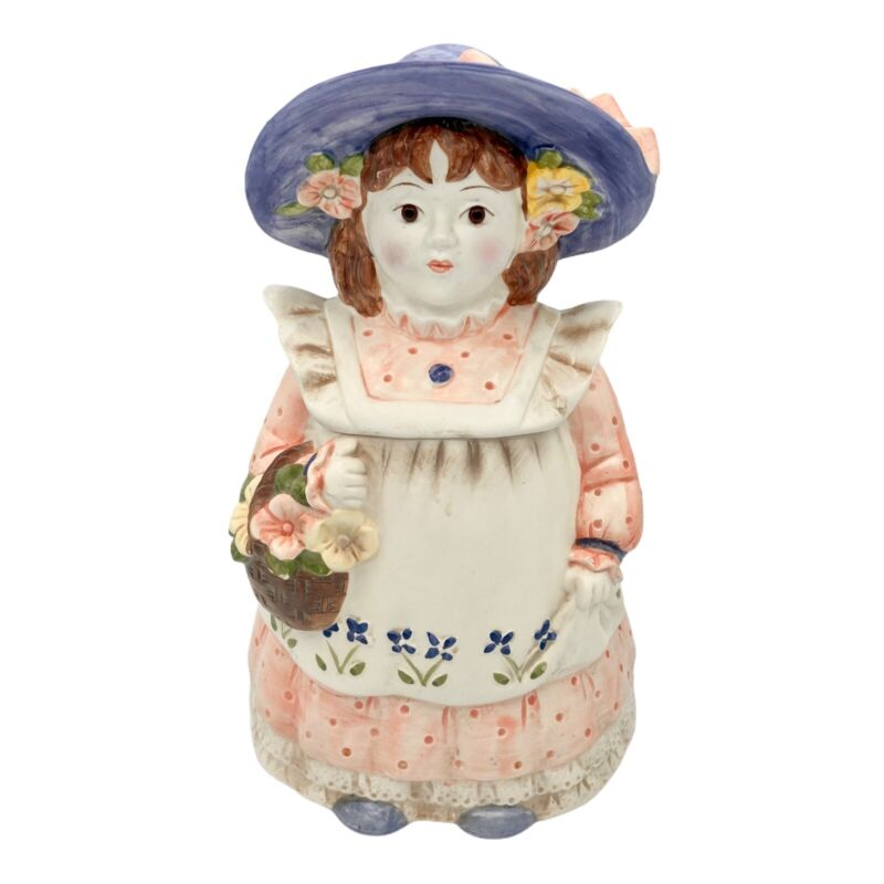 Vintage Cookie Jar - Country Girl with bonnet and flower basket, made in Japan
