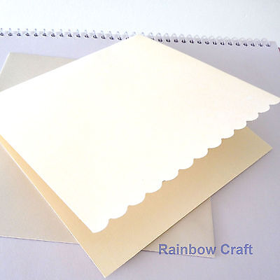 10 blank Cards & Envelopes SQUARE or C6 (9 Colors) - Scallop Wedding Invitation - Sq Cream