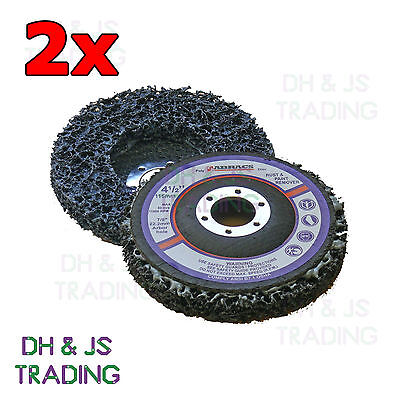 """2x 115mm 4.5"""" Poly Strip Wheel Paint Rust Removal Clean Angle Grinder Disc"""