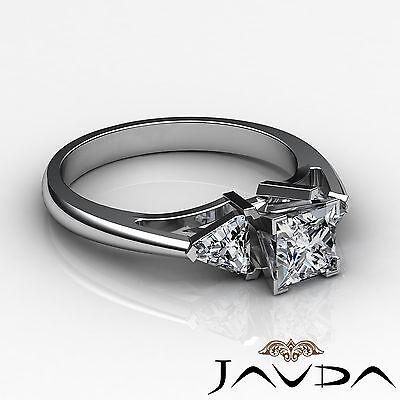 Trillion Cut 3 Stone Princess Diamond Engagement Ring GIA Certified I SI1 1.8 Ct 2
