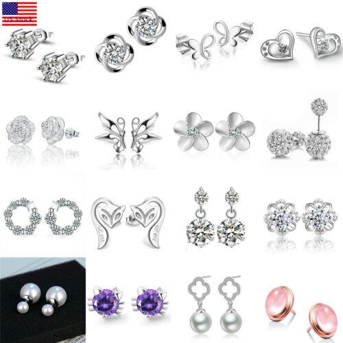 Earrings - Women Fashion 925 Sterling Silver Crystal Rhinestone Elegant  Ear Stud Earrings