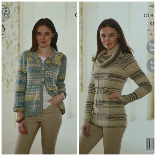 KNITTING PATTERN Ladies Easy Knit Jacket with Collar Cowl Jumper Drifter DK 4545