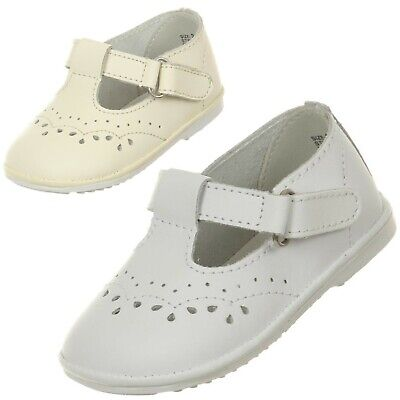 Ivory White Baby Toddler Girls Leather Dress Shoes Strap Christening Baptism New Ivory White Leather