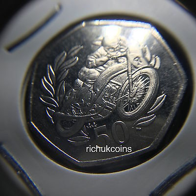 1999 T.T. Commemorative 50p Closer Look (made in 1990s (left) & 2010s (right))