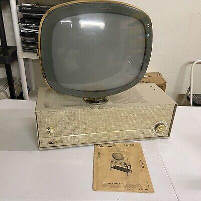 1958 Vintage PHILCO PREDICTA Swivel TV Television Parts or Repair Powers On