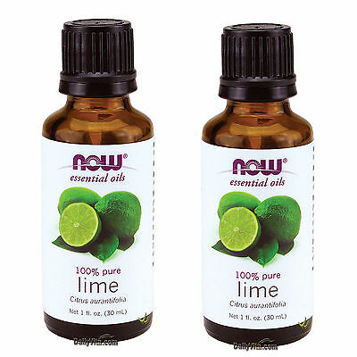 - 2 X NOW FOODS 100% PURE LIME ESSENTIAL OIL 1 OZ, FRESH, MADE IN USA