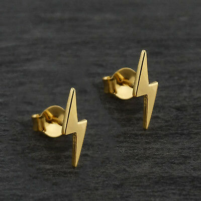 - Lightning Bolt Stud Earrings - 24K Gold Plated Brass - Thunder Bolts Storm NEW