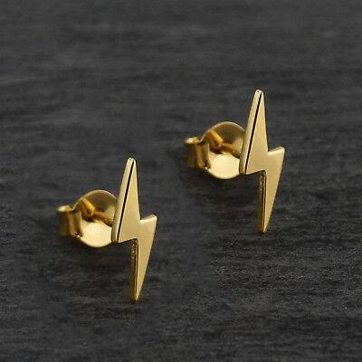 Lightning Bolt Stud Earrings - 24K Gold Plated Brass -