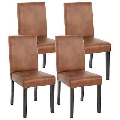 4x Esszimmerstuhl Stuhl Lehnstuhl Littau Textil, Wildlederimitat dunkle Beine - Polyester Wildleder Stuhl